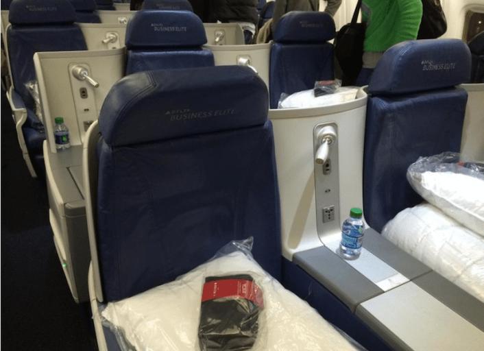 Delta 767-300ER Business Class cabin.