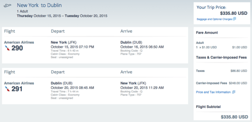 New York (JFK) to Dublin (DUB) for $336 on American.