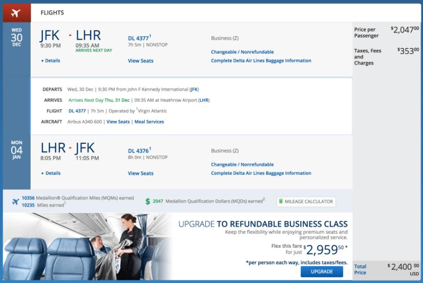 New York (JFK) - London (LHR) for $2,400 round-trip in business on Virgin Atlantic.