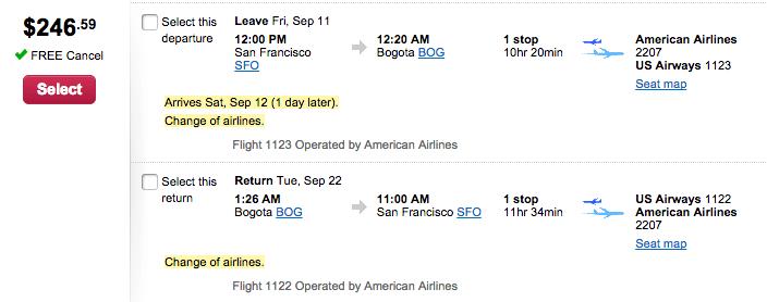 San Francisco (SFO) - Bogota (BOG) for $247 round-trip on AA.