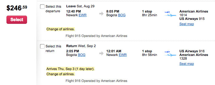 Newark (EWR) - Bogota (BOG) for $247 round-trip on AA.