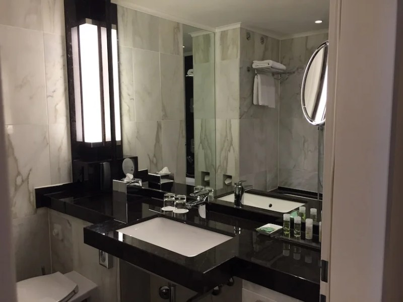 The marble bathroom was a good size.