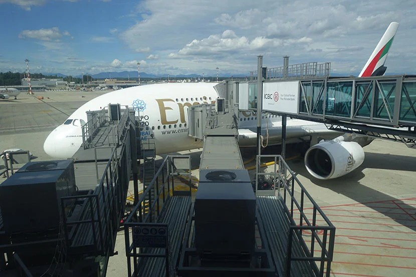 The Emirates A380 awaits at MXP.