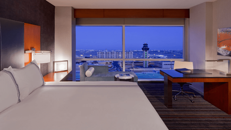 Glimpse the runway from your bed at the Grand Hyatt DFW. Photo courtesy of the hotel.