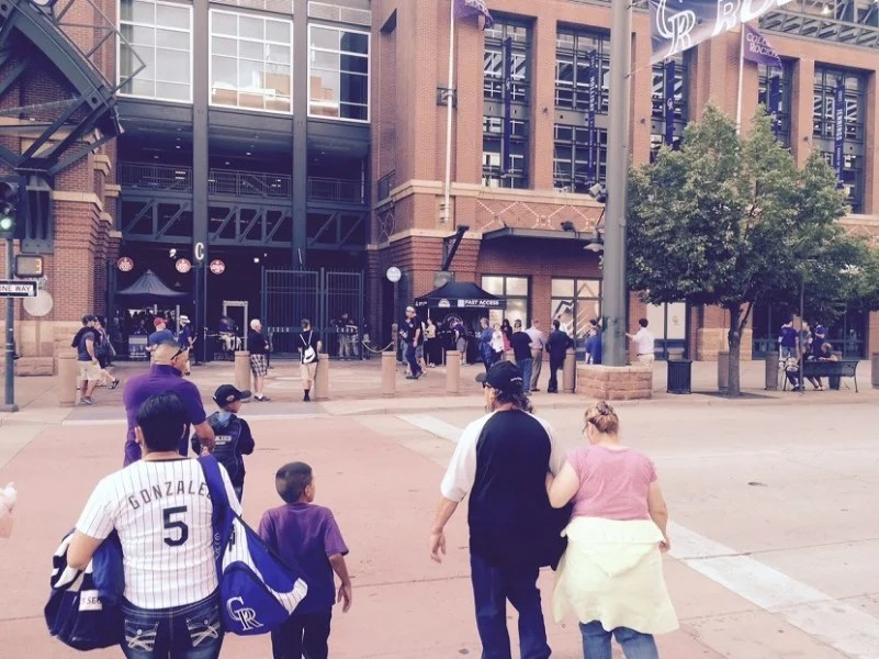 The new CLEAR for the Colorado Rockies lane outside of Coors Field in Denver.