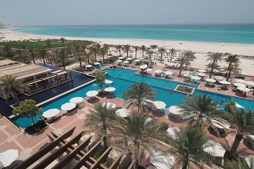 The hotel boasts a large, beach-front pool.