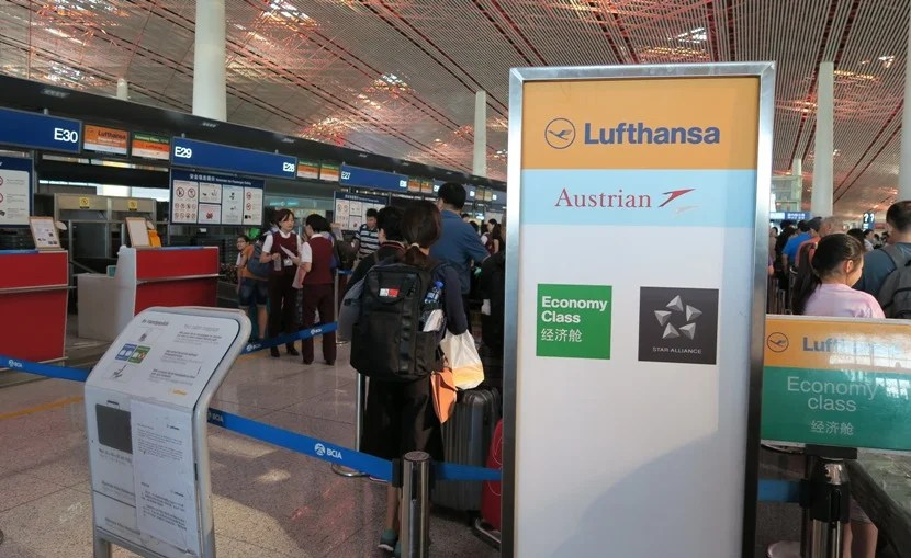 Lufthansa check-in in PEK
