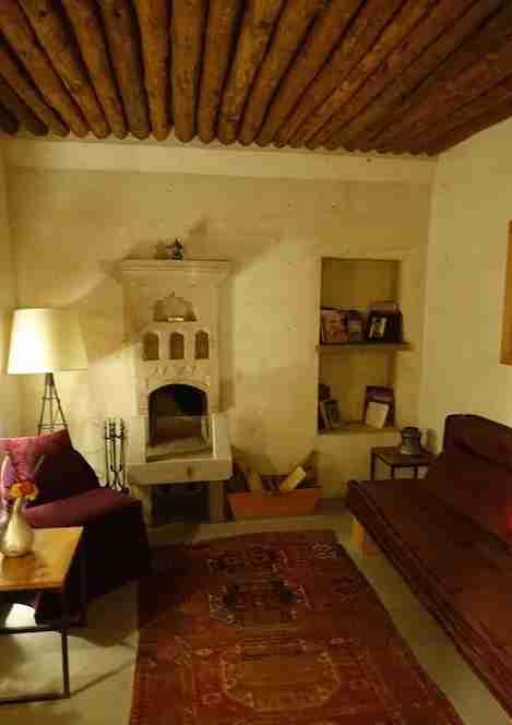 Gorgeous original details in this comfortable suite living room.
