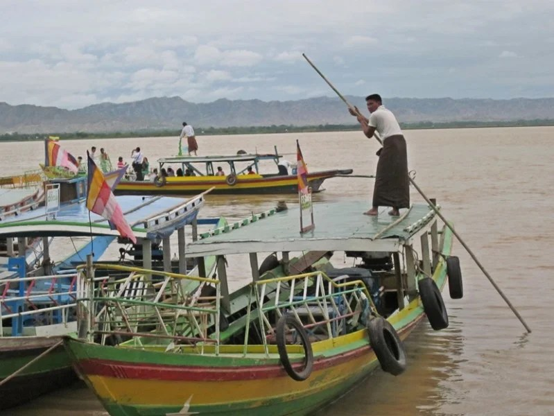 Boats along the Irawaddy River in Myanmar