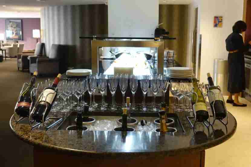 Wine and Champagne spread at the BA first-class lounge.