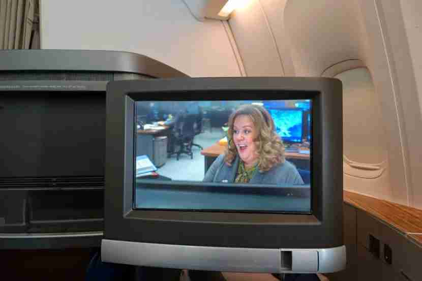 Each first-class seat has a 15.4-inch entertainment display.
