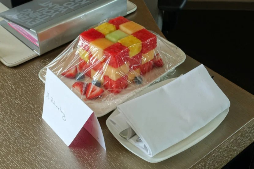 """Fruit cube"" welcome amenity."