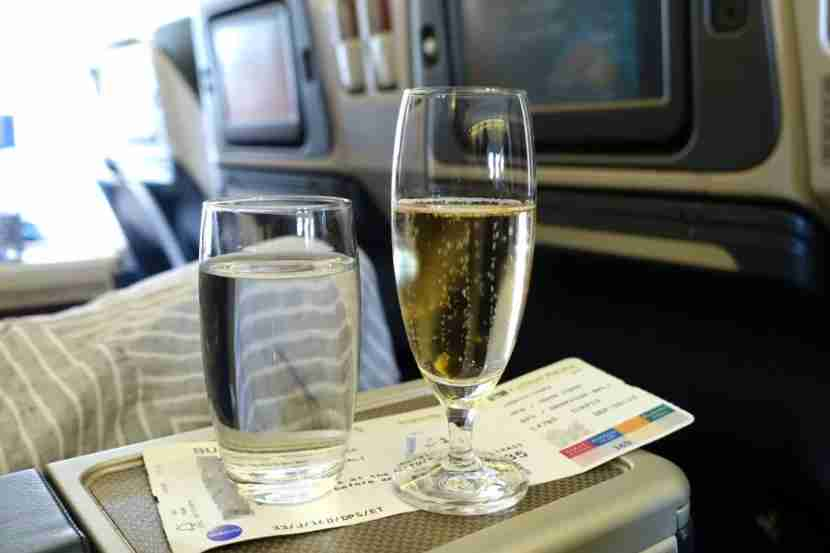 Flight attendants served Champagne before departure.