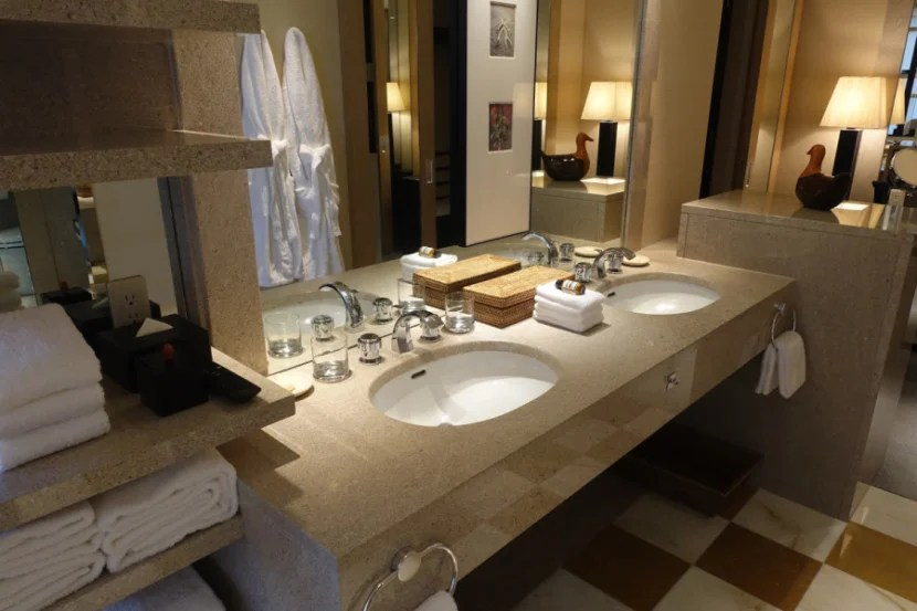 There are double sinks, and plenty of room to spread out.