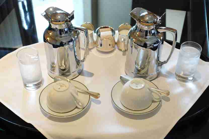 Platinum members receive free tea or coffee each day.