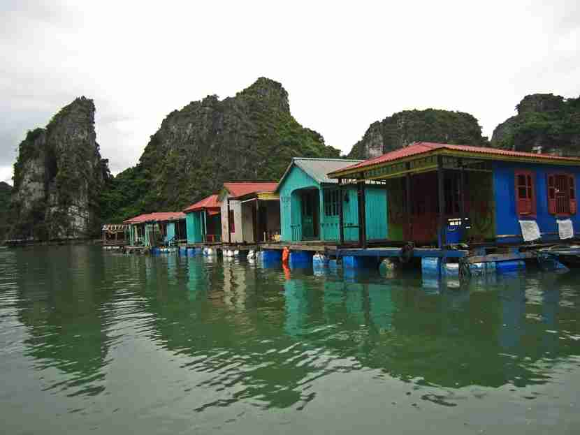 A fishing village in Halong Bay