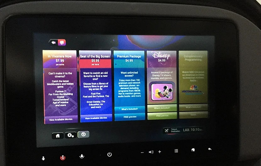 Entertainment, unfortunately, isn't free even in Main Cabin Extra. My monitor was also discolored and not fully functional.