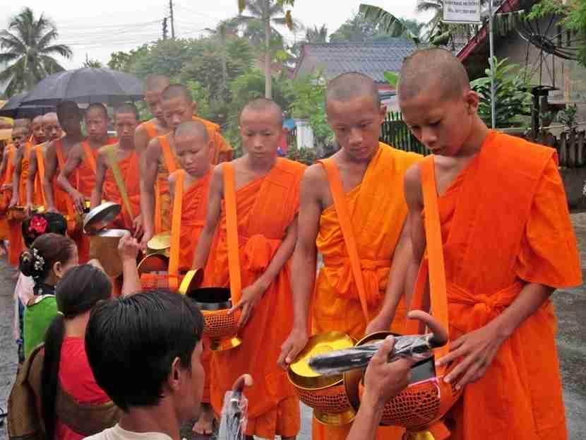 Locals give rice and other things (like umbrellas on a rainy day) to monks daily at dawn