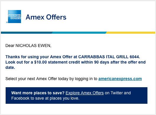 Amex online offer confirmation