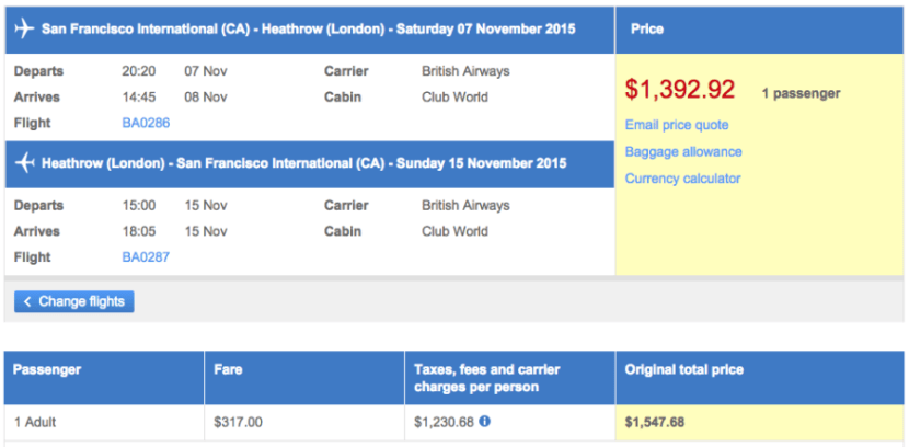San Francisco (SFO) to London (LHR) in business class on British Airways for $1,393.