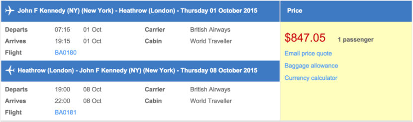 New York to London for $847.