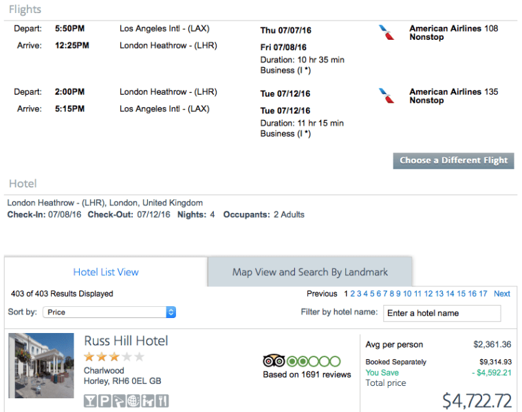 Los Angeles (LAX) to London (LHR) on American Airlines for $2,245 (two passengers).