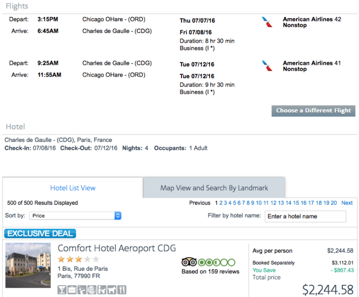 Chicago (ORD) to Paris (CDG) on American Airlines for $2,245.