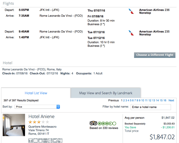 New York (JFK) to Rome (FCO) on American Airlines for $1,847.