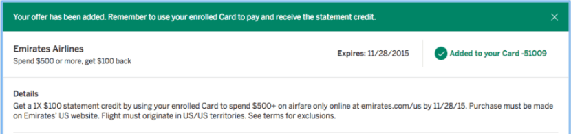 $100 back after spending $500 with Emirates.