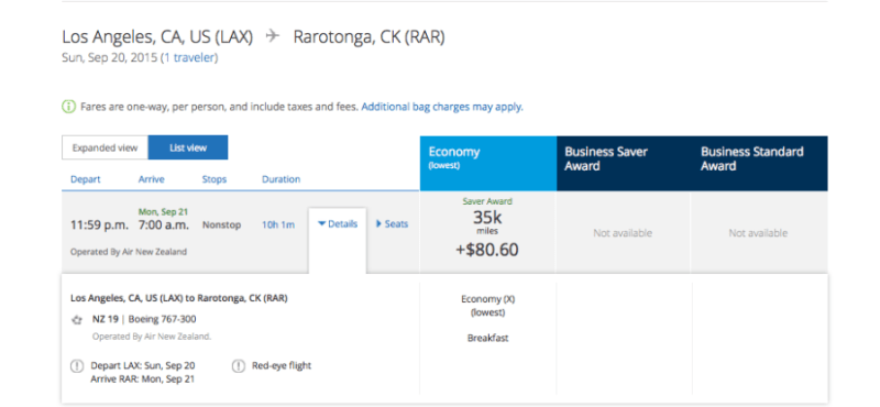 Air New Zealand flies non-stop LAX-RAR, but award availability is nearly non-existent.