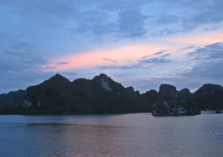 A sunset over Halong Bay