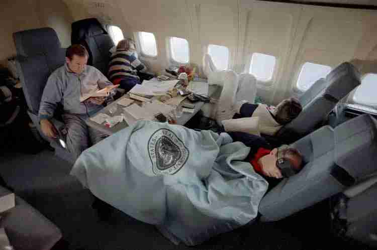 Fast asleep on Air Force One. Photo courtesy: Reagan Foundation.
