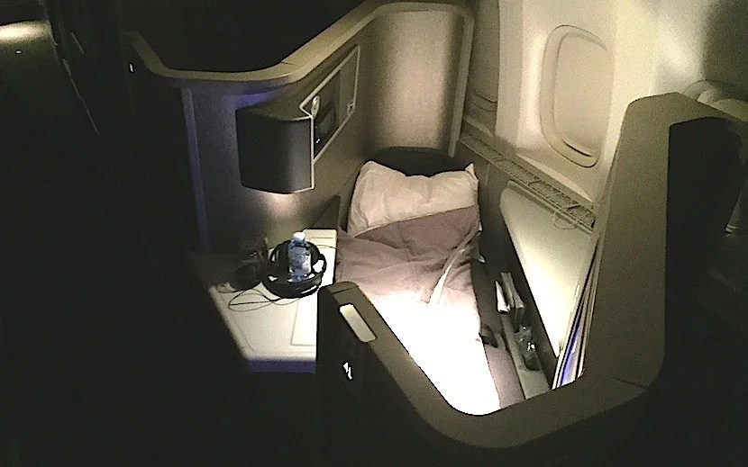 My rear-facing seat in lie-flat position.