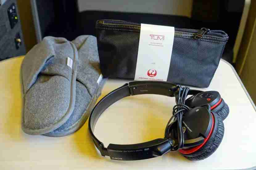 Business passengers also receive Sony noise-canceling headphones and slippers.