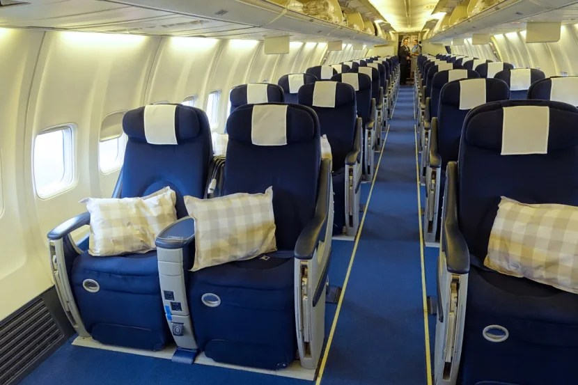 The all-business 737 cabin.