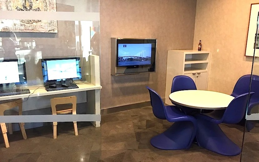The work stations and TV.