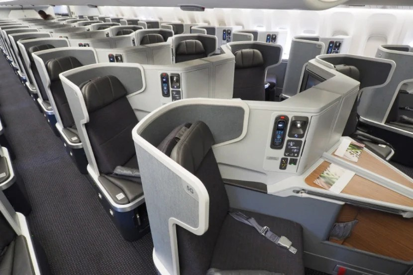 For a comparison, let's look at American's flagship 777-300ER's business-class cabin.