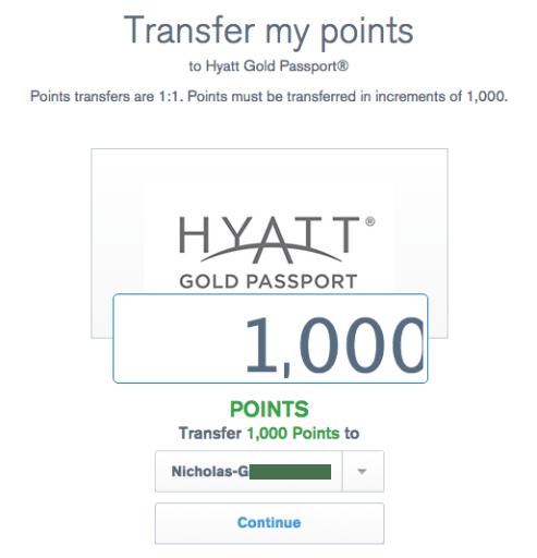 Ultimate Rewards Hyatt transfer