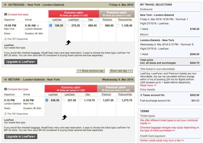 New York (JFK) to London (LGW) for $445 on Norwegian.