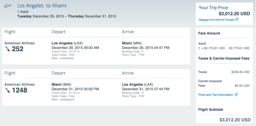 First class from LAX to Miami for $3,000.