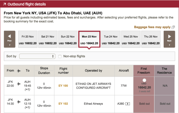 Etihad's new A380 launch date.