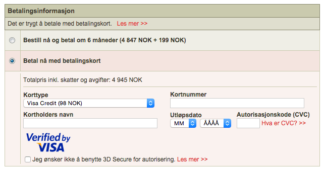 Norwegian charges a 75 NOK (about $9) fee to pay with a credit card.