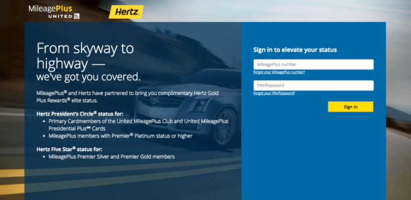 United and Hertz allow certain credit card holders to enjoy complimentary status
