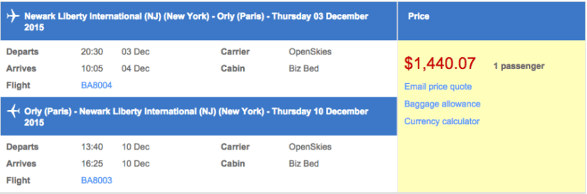 Newark (EWR) to Paris (ORY) in business class on OpenSkies for $1,440.