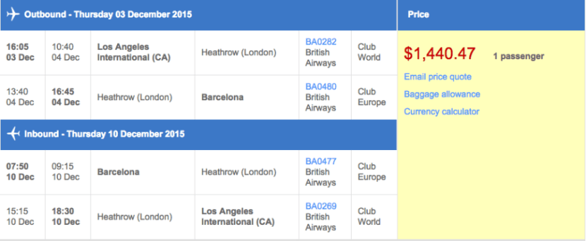 Los Angeles (LAX) to Barcelona (BCN) in business class on British Airways for $1,440.