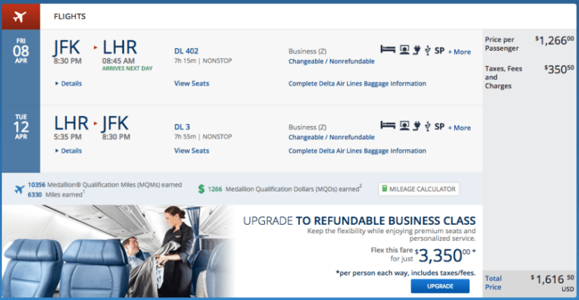 New York (JFK) to London (LHR) for $1,617 in business class on Delta.
