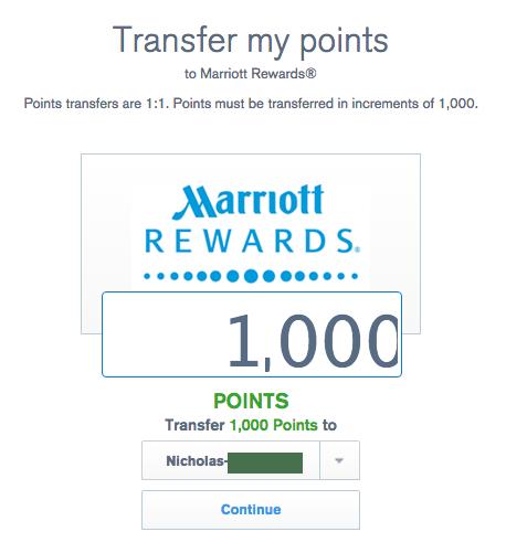 UR transfer to Marriott
