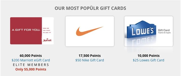 Gift cards available for purchase with Marriott Rewards points.