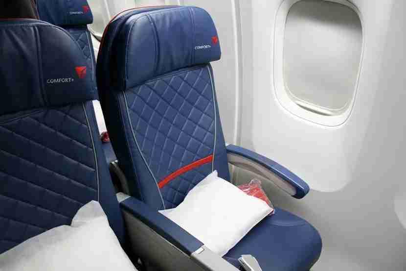 A closeup of the Delta Comfort+ seat.