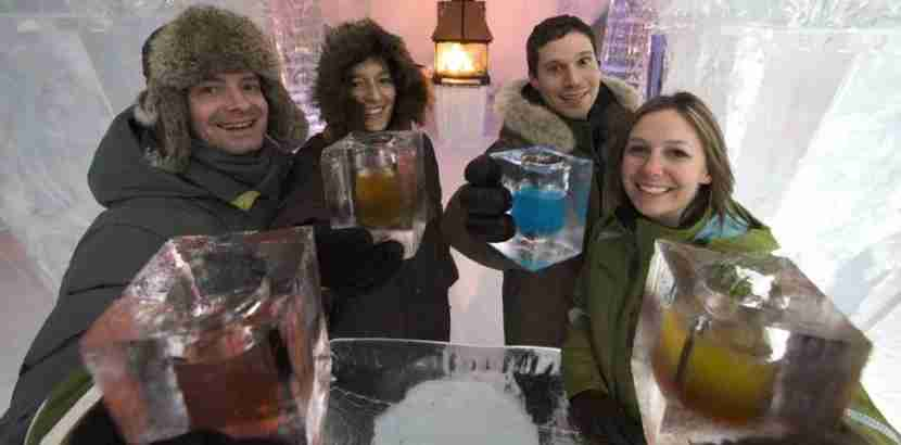 Cheers from the Hotel De Glace Ice Bar